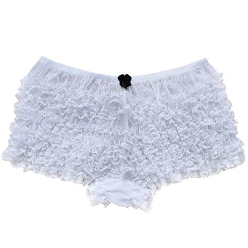 Girly Boy Brief (MSemis Women's Sexy Ruffle Panties Tanga Dance Bloomers Sissy Booty Shorts White One Size)