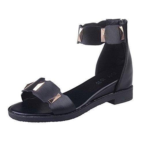 AalarDom Mujer Cremallera Puntera Abierta Mini Tacón Pu Sólido Sandalias de vestir Negro