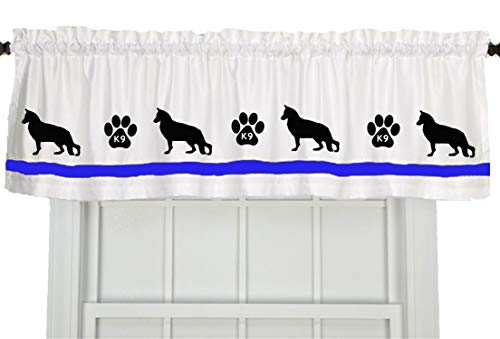 (K9 Unit Police Dog Window Valance/Treatment - In Your Choice of Colors - Custom Made)