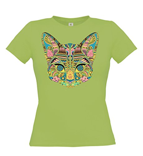 Ethno Designs Streetwear - Mosaic Cat - Womens Going Out and Party Fashion T-Shirt - slim fit, pistachio, size M