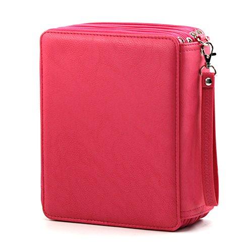 (Bajotien Colored Pencil Case 168 Slots - PU Leather Handy Super Large Capacity Pen Bag for Prismacolors Pencils (Rose Red))