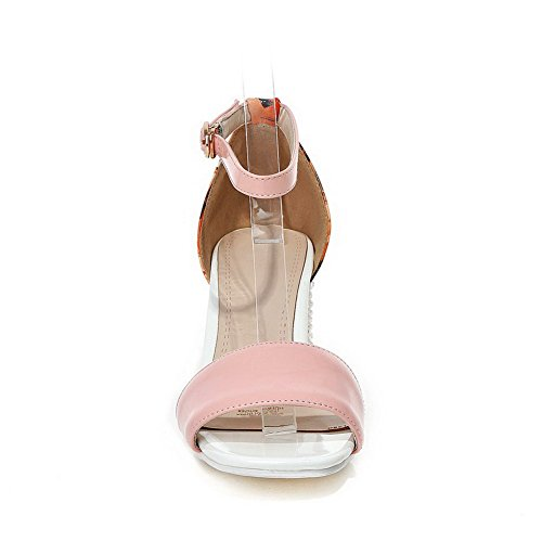 AllhqFashion Womens Patent Leather Open Toe High Heels Buckle Solid Sandals Pink 15o6qn1Hj