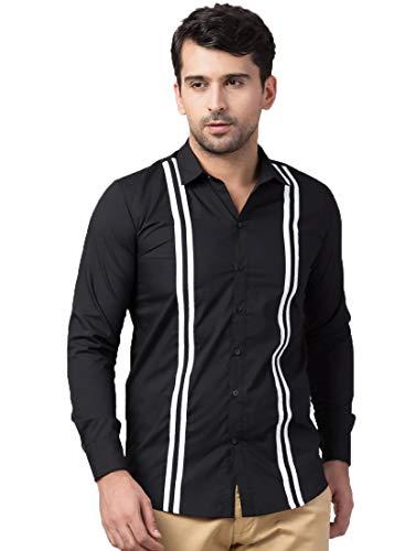 Zombom Men Regular Fit Solid Spread Collar Casual Shirt