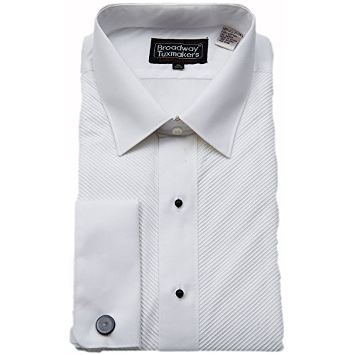 Mens Slightly Irregular White Laydown Collar French Cuff Tuxedo Shirt (XL - Tuxedo Laydown White Collar Shirt