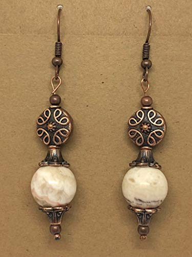 White Bead Earrings, Bohemian Style Jewelry, Copper Earrings, Agate Bead Earrings