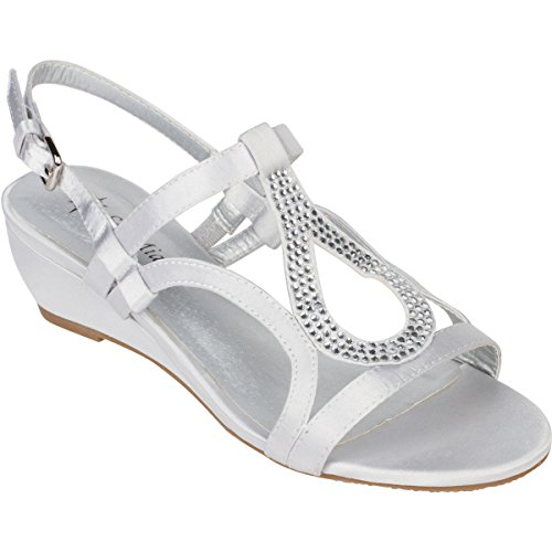 - Sol Mia Women's Low Wedge Dress Sandals, Open Toe Rhinestone Formal Wedding Shoes, Silver, 7.5 B(M)