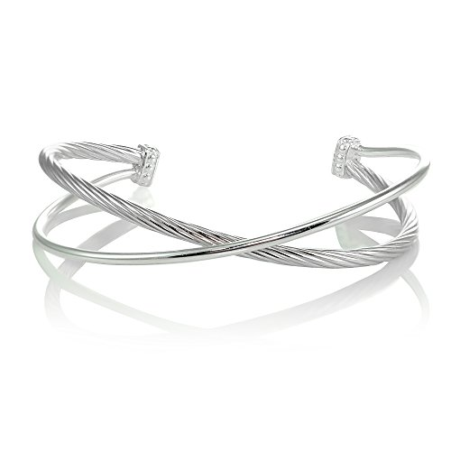 Hoops & Loops Sterling Silver High Polished & Twist Criss Cross Cuff Bangle Bracelet