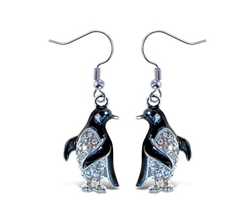 Puzzled Black Penguin Fish Hook Earrings, 1.25 Inch Fashionable Sparkling Rhinestone Stud Drop Earring for Casual Formal Attire Accessory Unique Gift Ocean Life Themed Silver Fashion Accessories