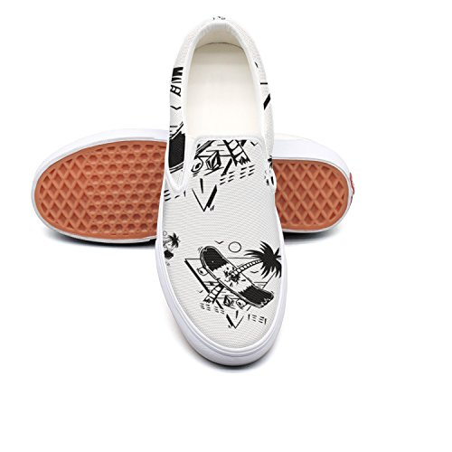 Skis Crown Touring - RegiDreae Canvas Slip On Sneakers For Women Skateboarding Palm Tree Fashion Sneaker