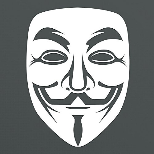 Anonymous Guy Fawkes Mask White Vinyl Decal Sticker | Premium Quality | 5.5-Inches | (Android Guy Costume)