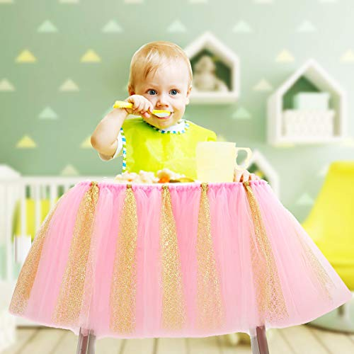 1st Birthday Tutu Skirt for High Chair Decoration Tulle Chair Skirt for Baby Shower Birthday Party Supplies(Pink and Gold)