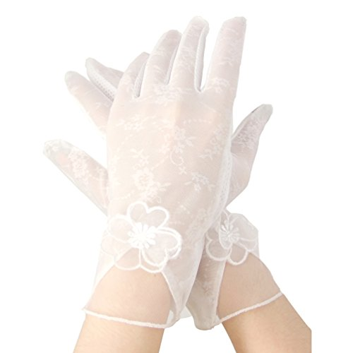 Women's Wrist Length Lace Half Finger Gloves 1980's Gothic Steampunk Womens Costume Accessory (White-Flower) (Dresses Bridal Silk)