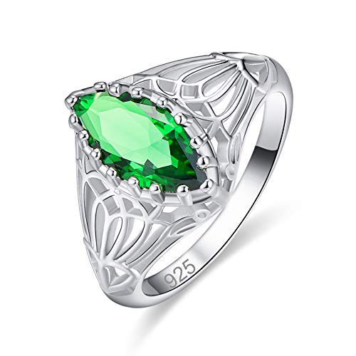 - Humasol 925 Sterling Silver Filled Lab-Created Marquise Emerald Quartz Mother Daugther Ring for Women
