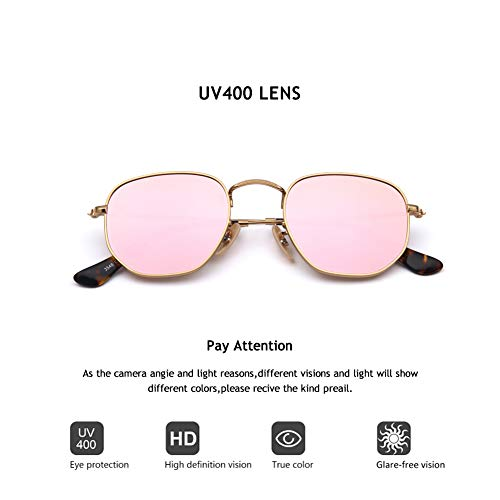 (2020Ventiventi Womens AK17033 Small Shiny Gold Frame/Pink Revo Lens Pentagon 50mm Polarized Stainless Steel Sunglasses)