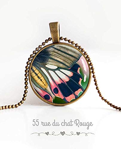 cabochon pendant necklace pink grey green 2308 womens jewellery Butterfly wing