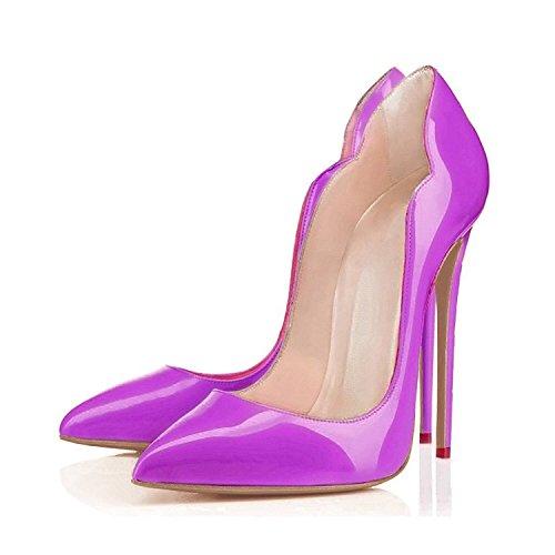 Cerrado elashe Wedding Mujer Altos Púrpura Tacones Clásicas Tacón cm 12 Boda de Zapatos wTOaZ