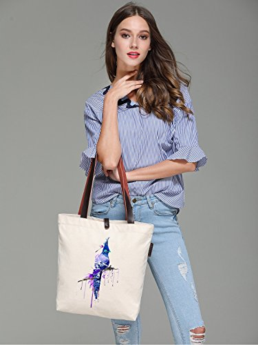 So'each Women's Bird Art Paniting Graphic Canvas Handbag Tote Shoulder Bag