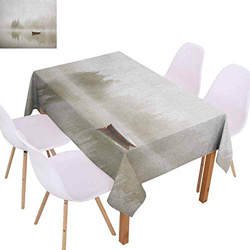 Marilec Easy Care Tablecloth Landscape Boat on The Lake with Silhouettes of Trees on The Water Sky Nature Art Picnic W59 xL71 Eggshell Brown Orange