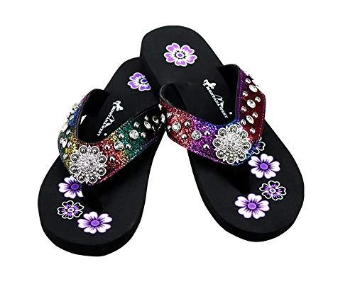 (Montana West Bling Rhinestone Concho Western Thin Sole Flip Flops Sandals Shoes Jp (9, Purple Pink Multi Color))
