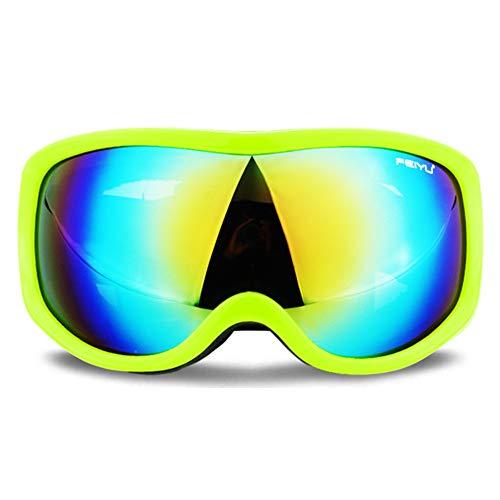 LAIABOR Gafas De Esquí Nieve Invierno Lentes Esféricas Intercambiables Tratamiento De Protección UV400, Lentes Gran Angular Y Esférica,para Mujeres,Green