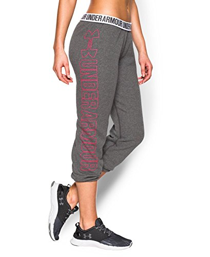 Under Armour Women's UA Fleece Capri, Carbon Heather/Harmony Red, MD (US 8-10) X 22 by Under Armour (Image #4)