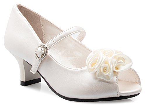 OLIVIA K Girls Kitten Heels Mary Jane Pumps - Adorable Vintage Roses - Unique Open Toe Design with an Adjustable Rhinestone Strap