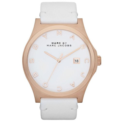 Marc Jacobs Henry White Dial Rose Gold Ion-plated White Leather Unisex Watch MBM1212