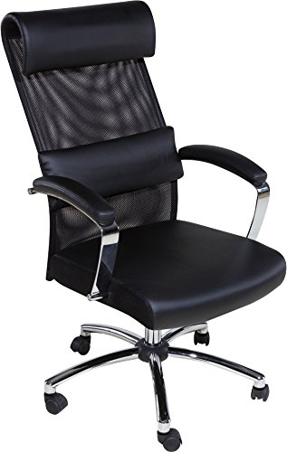 OneSpace 60-5901 High Back Executive Mesh Chair with Multipurpose Lumbar Support, Black