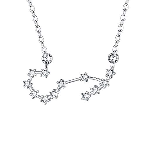 (BriLove 925 Sterling Silver Necklace for Women - Scorpio Constellation Necklace Zodiac 12 Horoscope Astrology CZ Pendant Necklace Birthday Gift Clear)