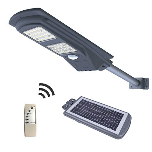 POWER ESSENCE 50W Solar Powered Street Light, 48 LED 1,000 Lumens Outdoor Waterproof IP65 with Remote Control Security Lighting for Yard, Garden, Gutter, Swimming Pool, Pathway, Basketball Court