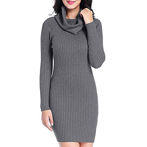 Toponly Women Cowl Neck Sweater Dress Knit Stretchable Elasticity Long Sleeve Slim Fit Dresses Gray