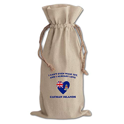 Can'T Walk Love Cayman Islands Cotton Canvas Wine Bag, Cotton Drawstring