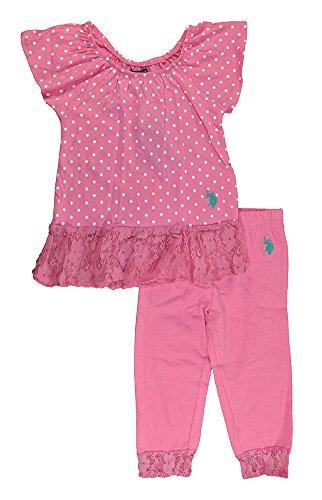 Cuff Flutter (U.S. Polo Assn.. Little Girls' Toddler Flutter Sleeve Top and Capri Leggings, Pink Zinc, 2T)