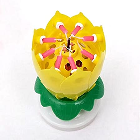 Amazing Happy Birthday Music Candle Novelty Blooming Lotus Flower Yellow