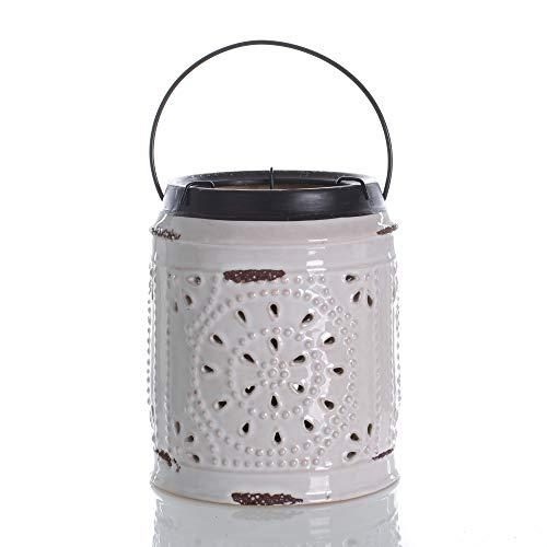 Glossy Cream Pressed Tin Style 7 x 5 Ceramic Tabletop Lantern