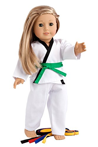 White Karate / Tae Kwon Do Outfit Includes Blouse, Pants and 5 Belts - Yellow, Green, red, Blue and Black - for 18inch Our Generation for American Girl Doll NAA02 ()