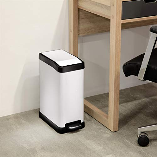 Home Zone Rectangular Step Trash Can - 2 Gallon/ 8 Liter Stainless Steel Waste Bin, White (VA41313A) by Home Zone (Image #5)