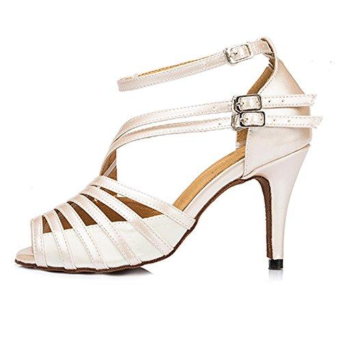 Honeystore Womens Strapy Pumpa Mitten Hälen Fotled Spänne Latinska Dansskor Partibröllopsfest Shoes Vita