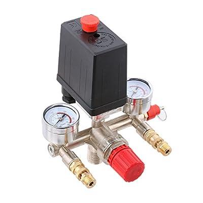 LYWS 90-120PSI Adjustable Single Port Air Compressor Pressure Switch Control Valve Manifold Gauges