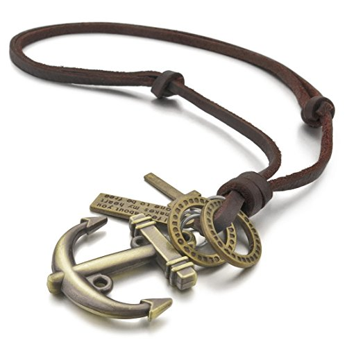 INBLUE Men's Alloy Genuine Leather Pendant Necklace Gold Tone Cross Anchor Nautical Adjustable 16~26 Inch Chain