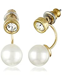 Giftable Elegant Pearl Ear Jacket with Crystal Stud Utopia Earring in Gold Tone Plating