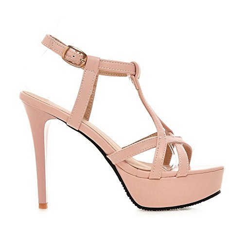 Ladies BalaMasa Metal Imitated Solid BalaMasa Sandals Leather Buckles Ladies Pink 67ggCqEwB