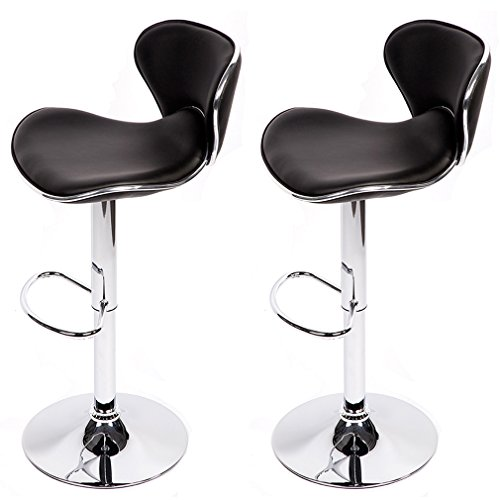 BestMassage Set Of 2 Adjustable Height Swivel Bar Stools w/ Chrome Base Counter Height Stool