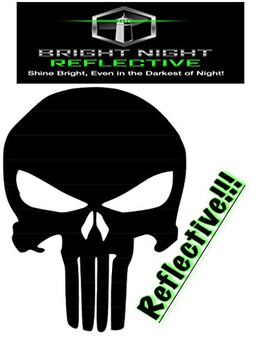 reflective punisher decal, XL for Motorcycle, helmet, ipad, iphone, mac, skateboard, yeti cups (Black (reflects white)) -