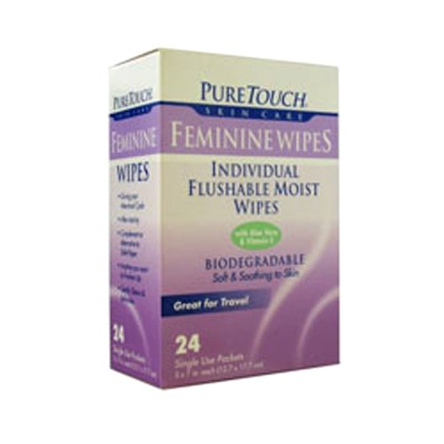 - Puretouch Skin Care Feminine Flushable Wipes, 24 Count