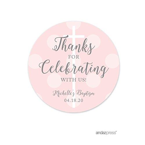 Andaz Press Blush Pink and Gray Baby Girl Baptism Collection, Personalized Round Circle Label Stickers, Thanks for Celebrating With Us, 40-Pack, Custom Name, Christian Church Easter Biblical Decor by Andaz Press