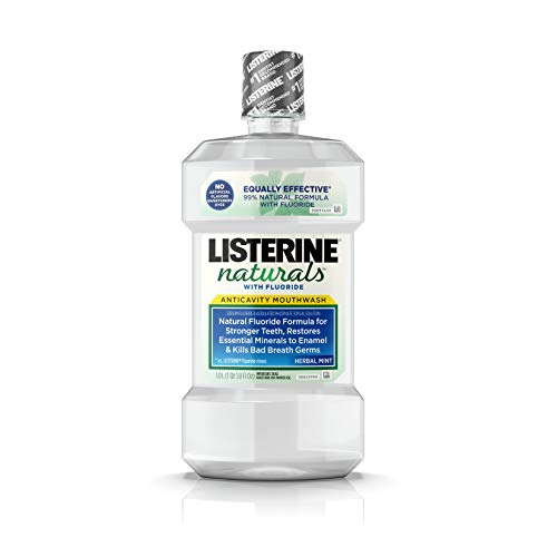 Listerine Naturals Anticavity Fluoride Mouthwash, Oral Care To Prevent Cavities, Kill Bad Breath Germs and Restore Tooth Enamel, Herbal Mint, 1 L