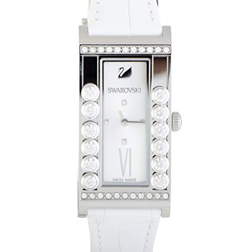 Swarovski LOVELY CRYSTAL SQUARE WATCH White Leather Stainless Steel #5096680