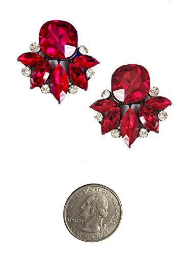 (Art Deco Antique Vintage Retro Style Crimson Ruby Red Rhinestone Bridal Bridesmaid Wedding Prom Cluster Earrings)