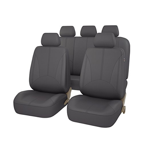 (CAR PASS - 11PCS Elegant Luxurous PU Leather Automotive Universal Seat Covers Set Package-Universal fit for Vehicles,Cars,SUV With 5mm Composite Sponge Inside,Airbag Compatible (Dark Gray))